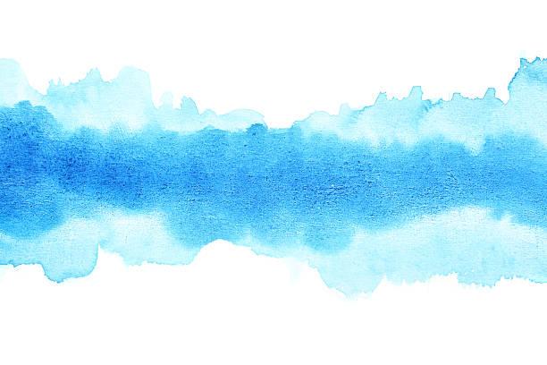 Blue watercolor brush strokes stock photo