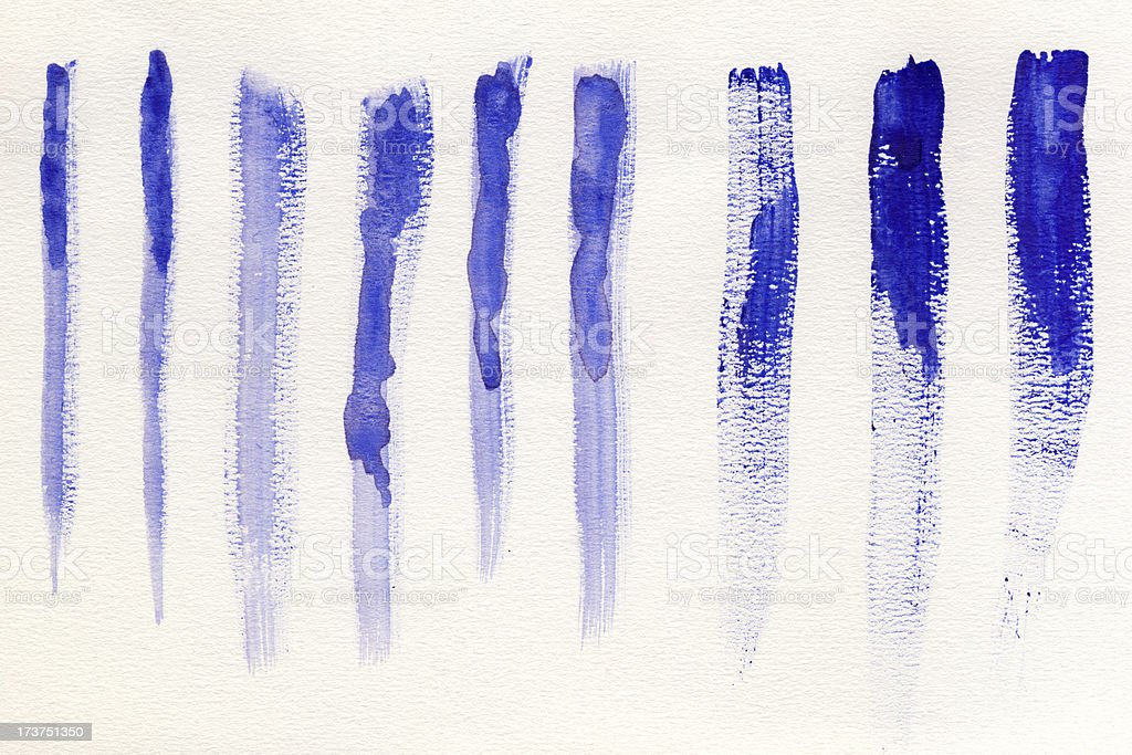 Blue watercolor brush strokes royalty-free stock photo