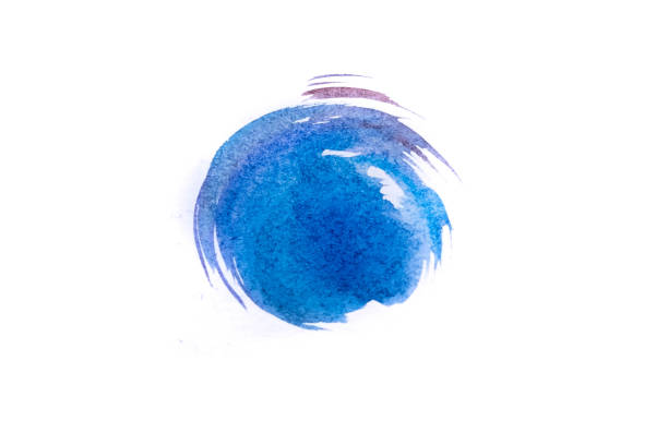 Blue watercolor circle isolated on white background stock photo