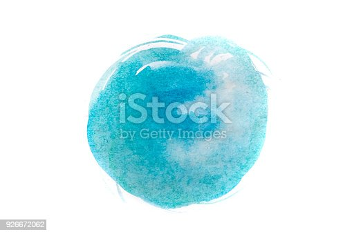 istock Blue watercolor circle isolated on white background 926672062