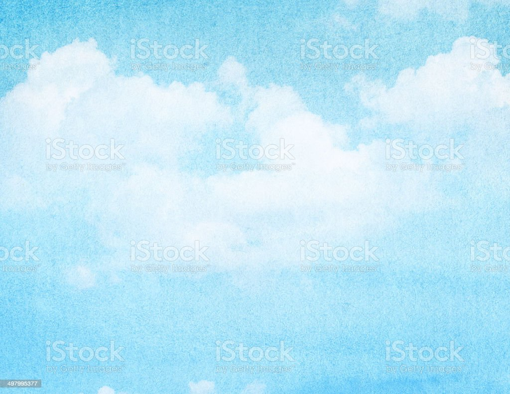 Blue watercolor cloud and sky. Spring, summer backgroud. stock photo