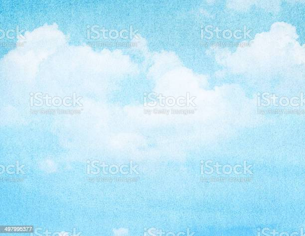 Photo of Blue watercolor cloud and sky. Spring, summer backgroud.
