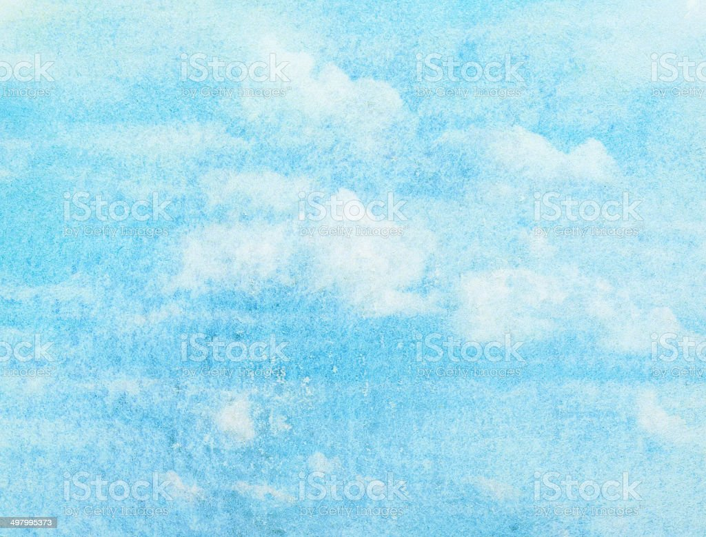 Blue watercolor cloud and sky. Spring, summer background. stock photo