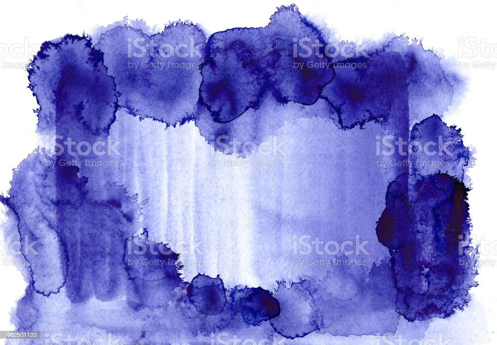 Blue watercolor frame on a white canvas of a paper texture. Stains and blots of paint form a rectangle in which you can insert text or use as a background design. - Royalty-free Abstract Stock Photo