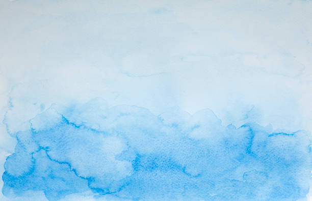 Blue watercolor hand drawn background - abstract ocean and sky with copy space stock photo