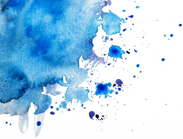 blue watercolor on white blue watercolor on paper texture tempera painting stock pictures, royalty-free photos & images