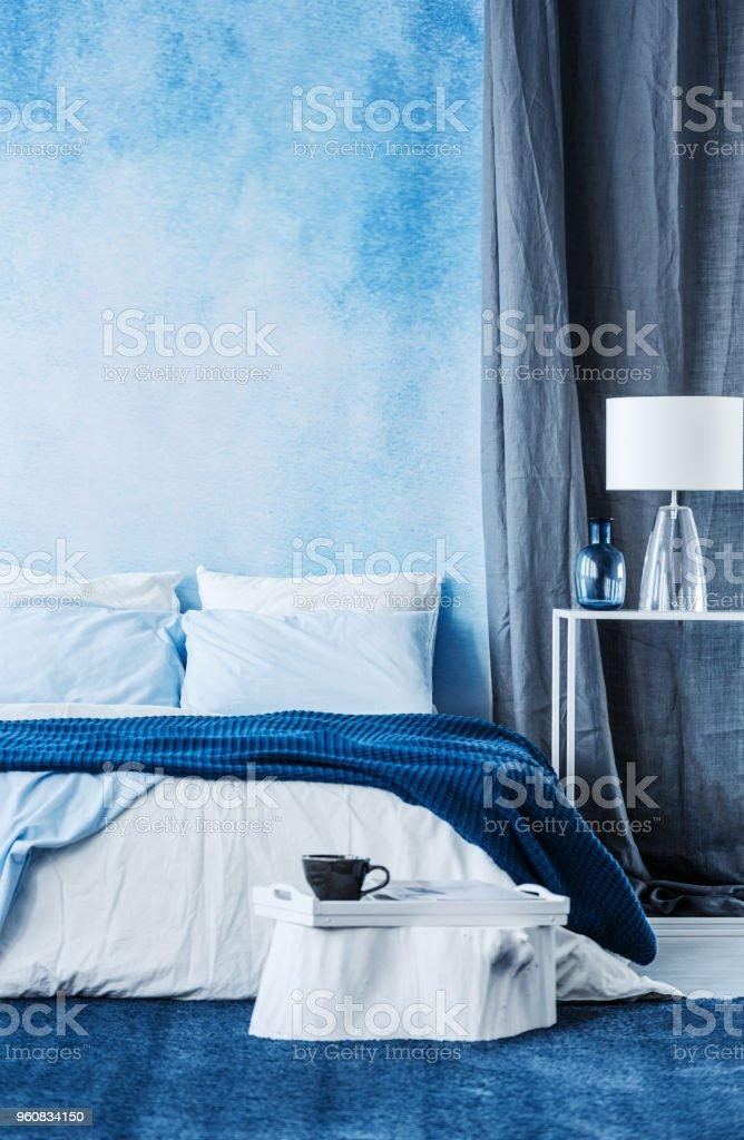 Photo Libre De Droit De Peinture Aquarelle Bleue Sur Le Mur