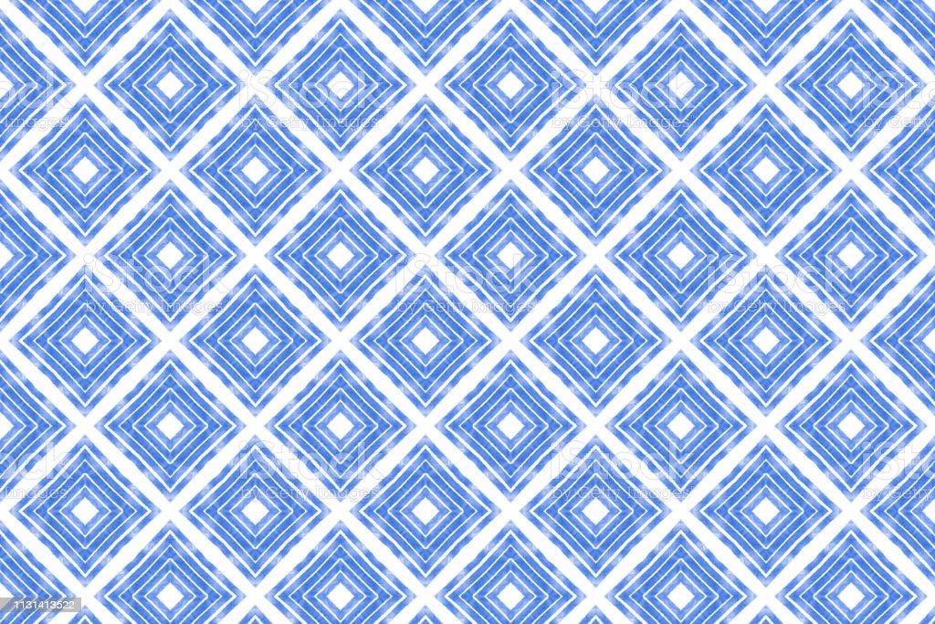 Blue Watercolor Painted Diamond Pattern stock photo