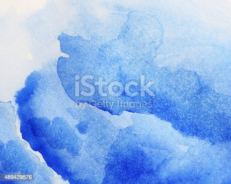 istock Blue watercolor painting. 489429576