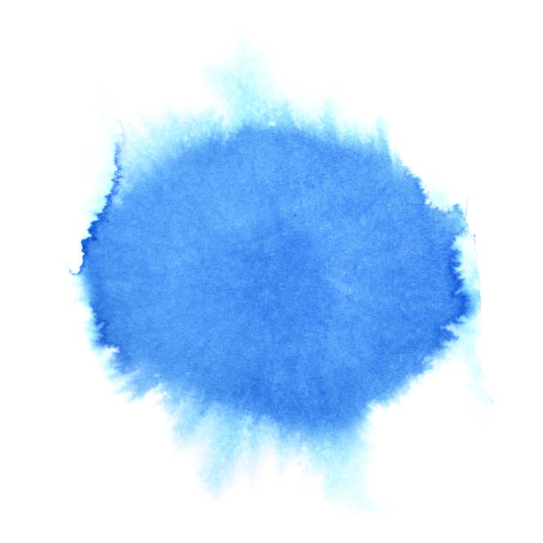 Blue watercolor round stain stock photo