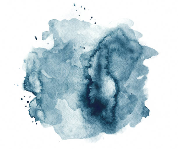 Blue watercolor spot with splashes - abstract water stock photo