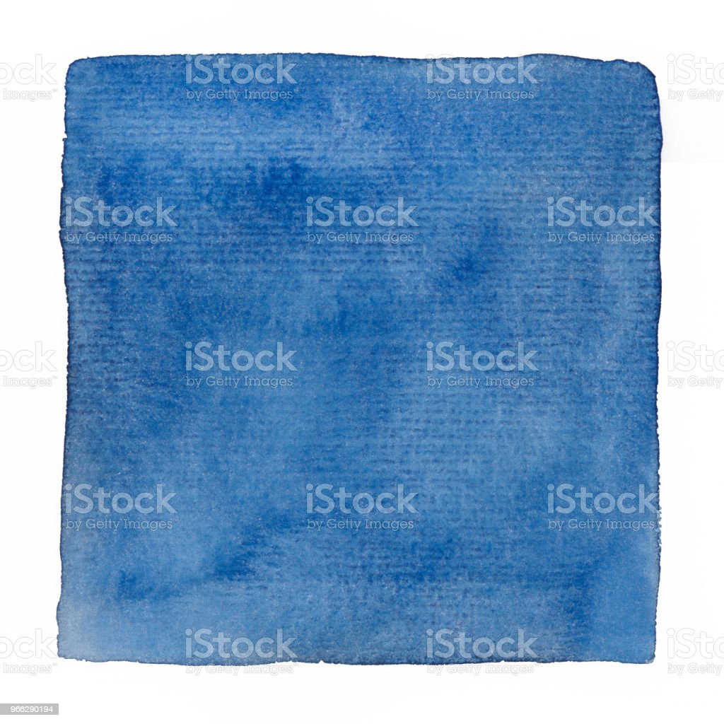 blue watercolor square background on a white paper stock photo