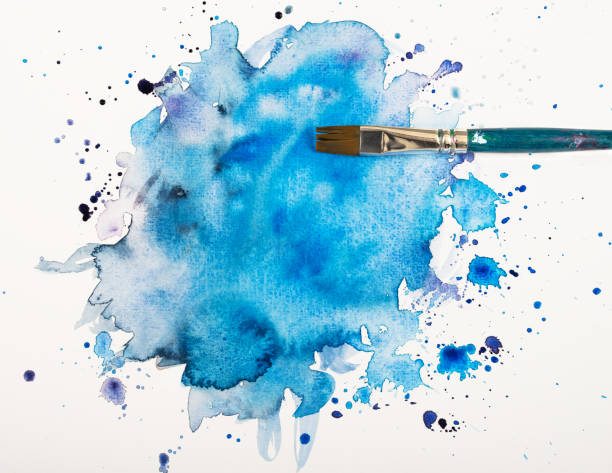 blue watercolor stain with brush - tempera painting stock pictures, royalty-free photos & images