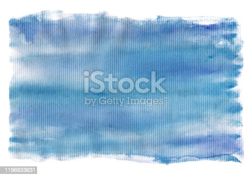 605740894 istock photo Blue watercolor textured stain isolated on a white surface 1196633631