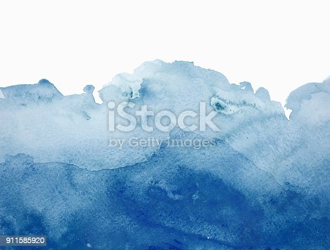 istock Blue watercolor waves background on white 911585920