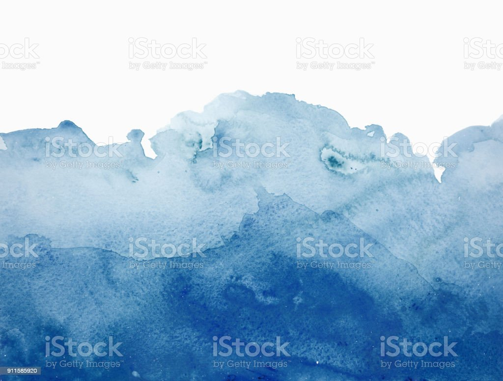 Blue watercolor waves background on white stock photo