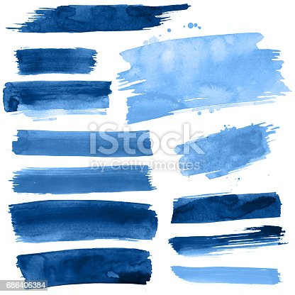 istock Blue Watercolour brush strokes 686406384