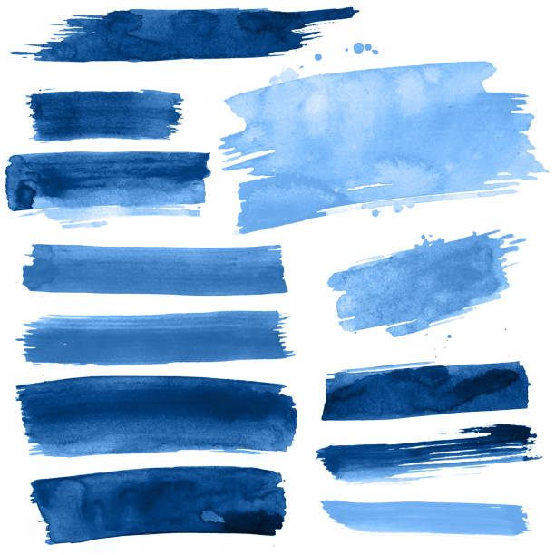 Blue Watercolour brush strokes stock photo