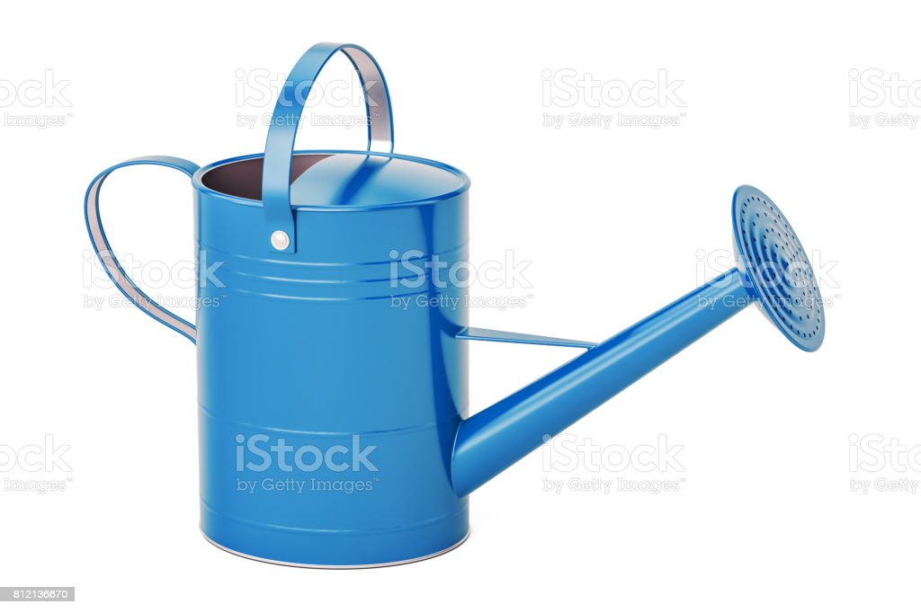 Blue watering can, 3D rendering isolated on white background stock photo
