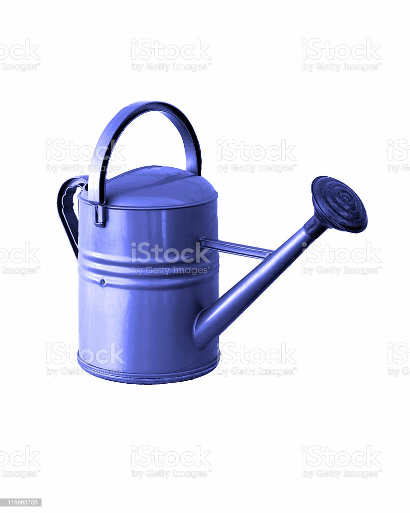 Blue Watering Can Isolated on White royalty-free stock photo
