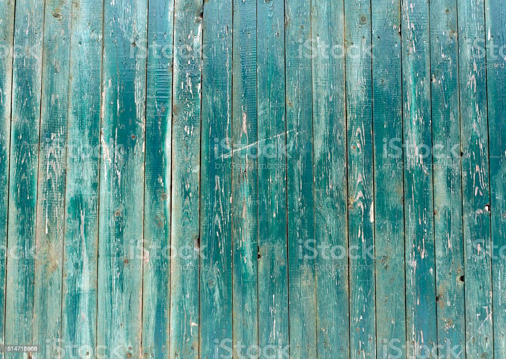 Blue weathered wooden fence texture. stock photo