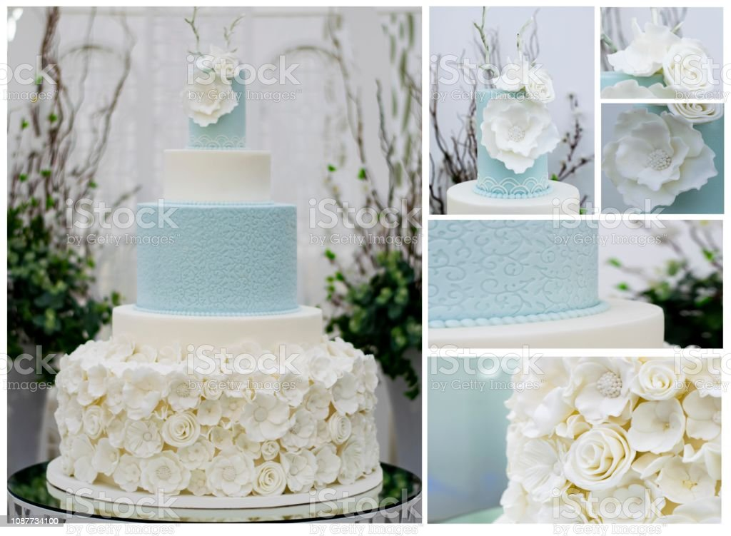Blue Wedding 5 Tier cake
