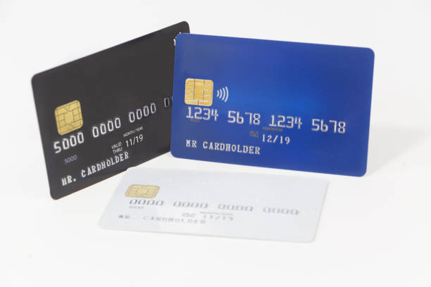 Blue, white and black credit cards, banking and shopping stock photo