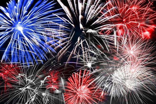 Blau-Weiß und rotes Feuerwerk Hintergrund – Foto