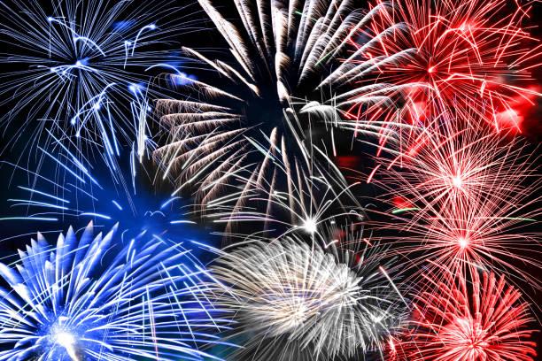 Blau weiß und rot Feuerwerk Hintergrund – Foto
