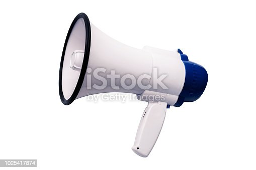 istock Blue white bullhorn public address megaphone on white background. 1025417874