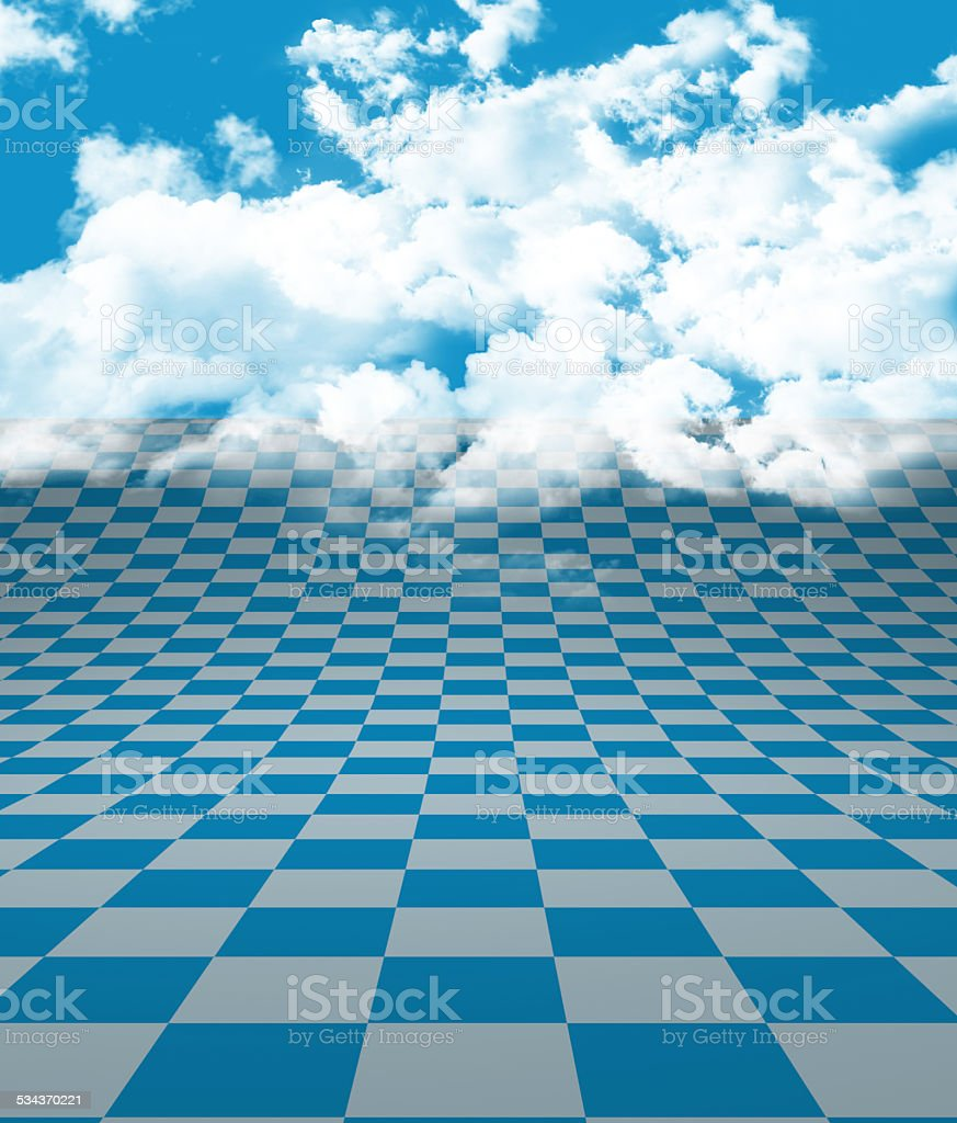 Blue White Floor and Clouds stock photo