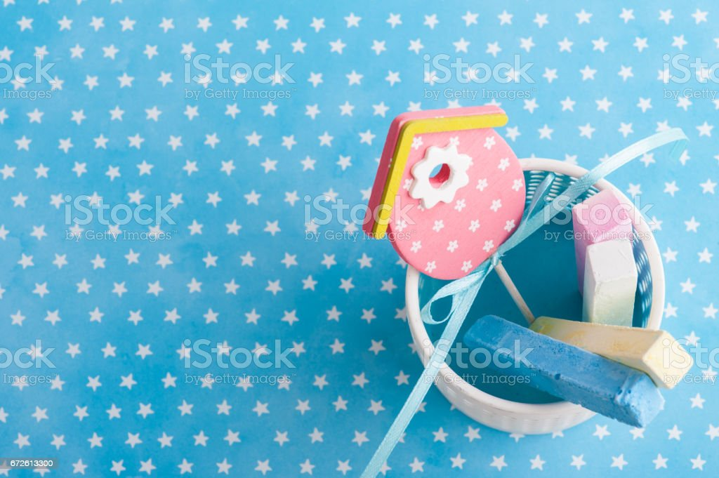 Blue white stars background with chalk stock photo