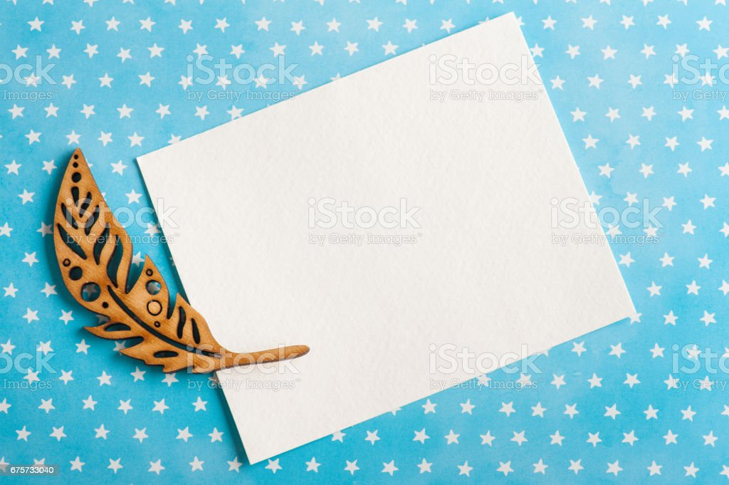 Blue white stars background with note stock photo