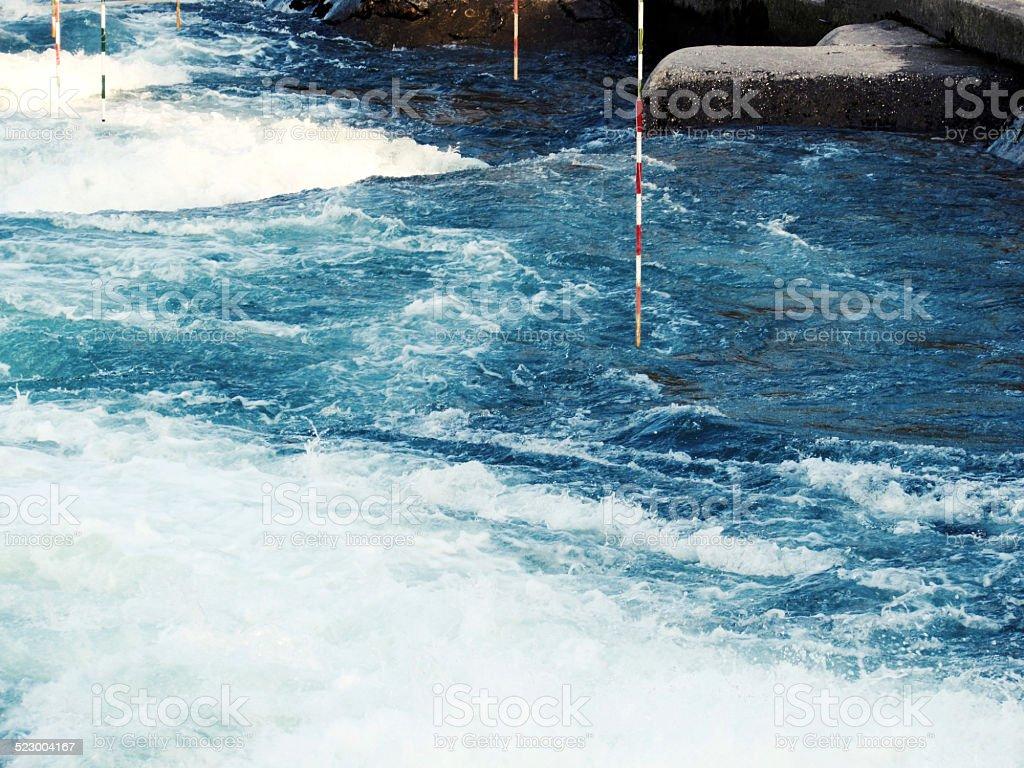 Blue Whitewater slalom river stock photo