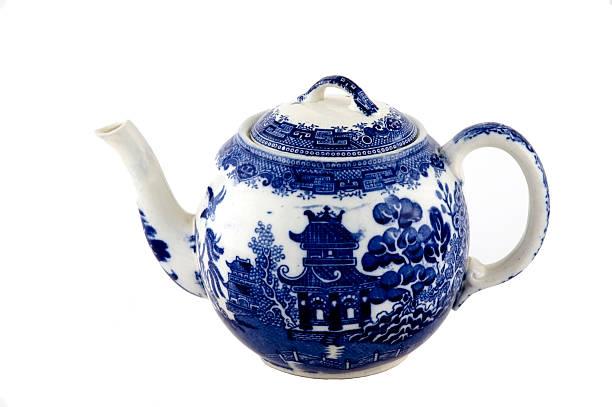 Blue Willow ceramic Teapot stock photo