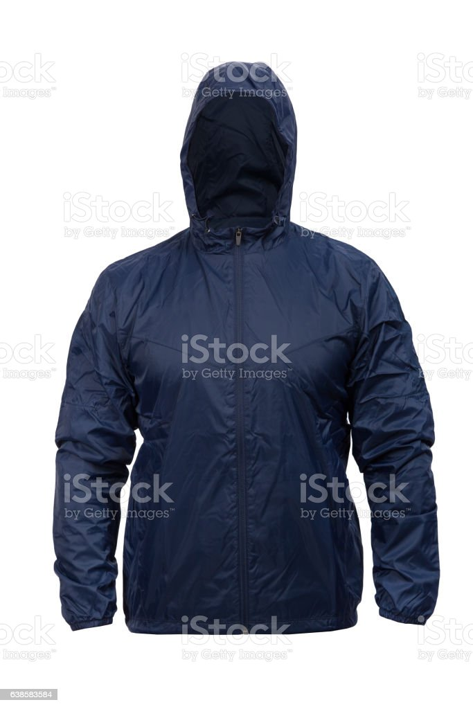 blue windbreaker sports jacket with hood, isolated on white stock photo