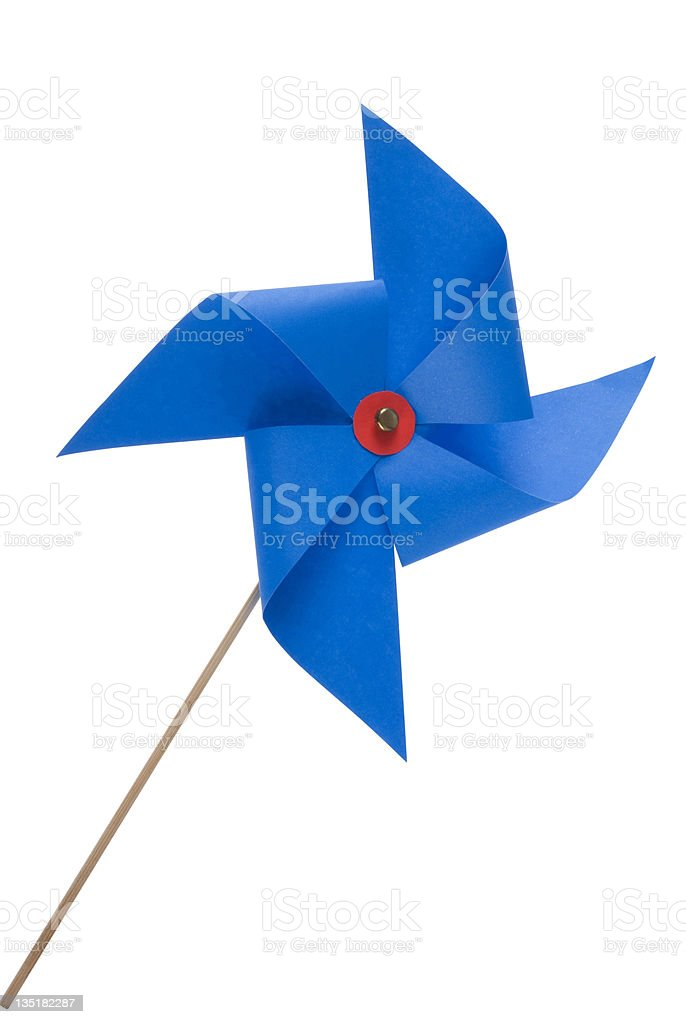 Blue windmill toy royalty-free stock photo