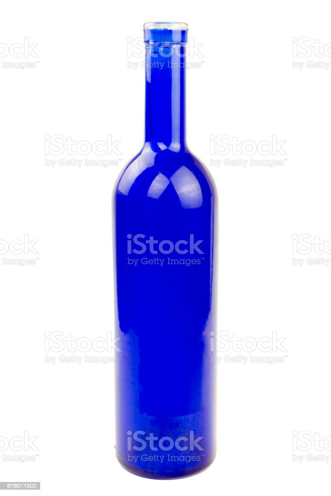 Blue wine glass bottle isolated stock photo