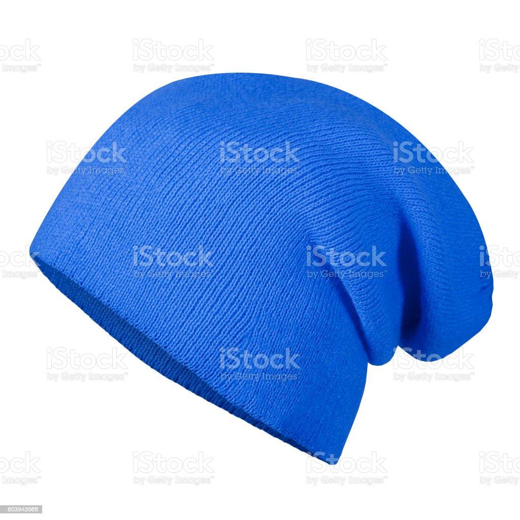 Bleu hiver automne chapeau bonnet sur mannequin invisible isolé sur blanc - Photo