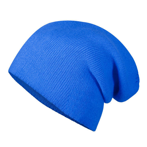 Blue winter autumn hat cap on invisible mannequin isolated on white stock photo