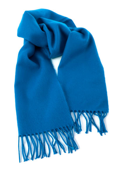 blue winter scarf isolated white background - cachecol imagens e fotografias de stock
