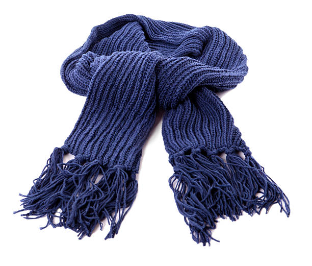Blue winter scarf Blue winter scarf isolated against a white background.  Alternative version shown below: headscarf stock pictures, royalty-free photos & images