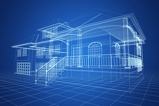 Blue Wireframe Villa stock photo