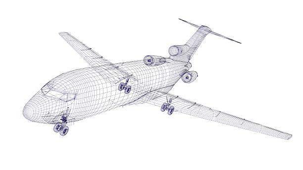 Blue wireframed aircraft model stock photo