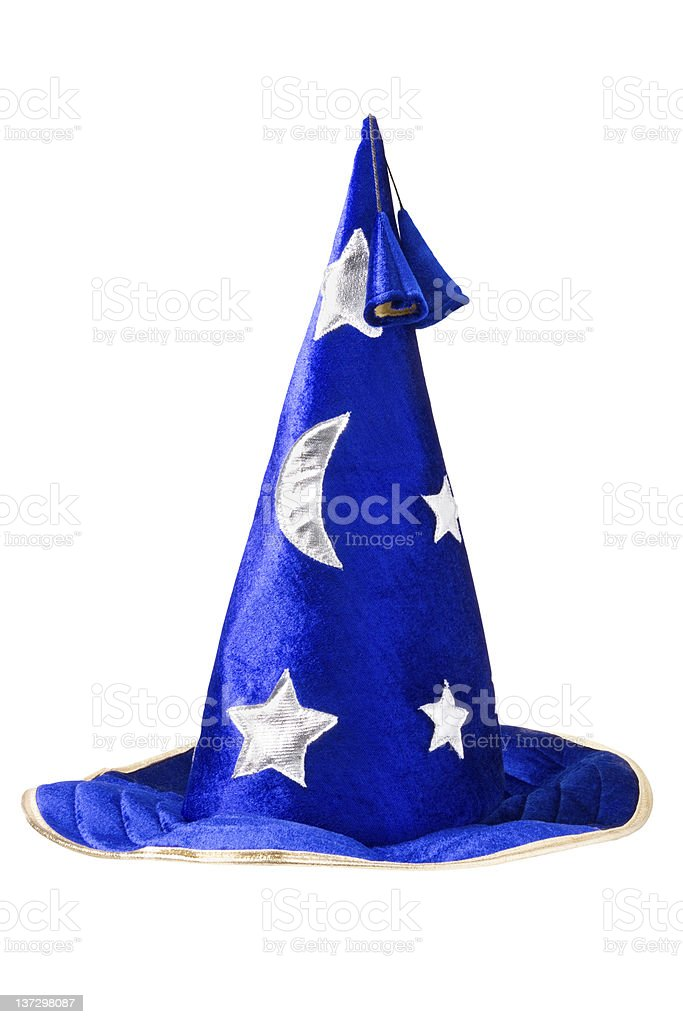 blue Witch's Hat with silver stars royalty-free stock photo