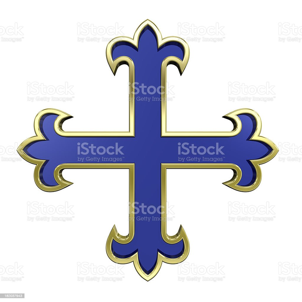 Blue with gold frame heraldic cross isolated on white. stock photo