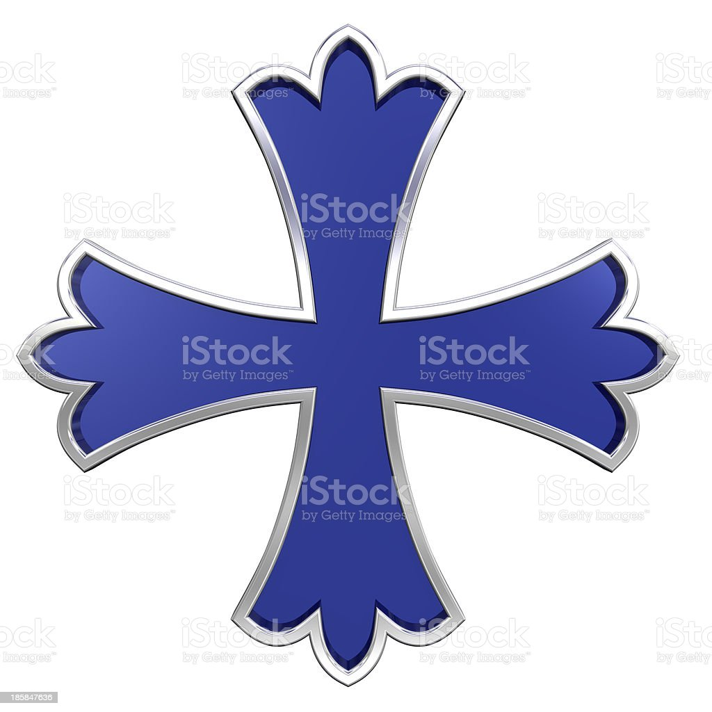 Blue with silver frame heraldic cross isolated on white. royalty-free stock photo