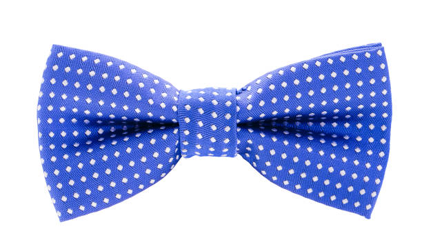 blue with white polka dots bow tie blue with white polka dots bow tie isolated on white background bow tie stock pictures, royalty-free photos & images
