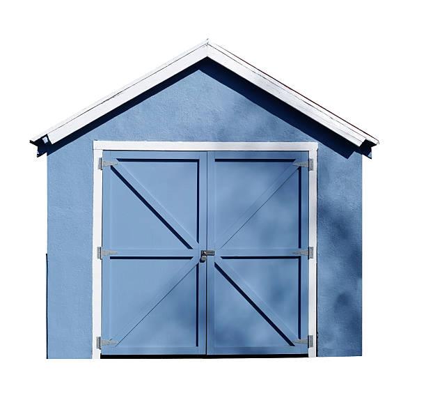 blau, weiß abgesetzt, garage schuppen - schuppen türen stock-fotos und bilder