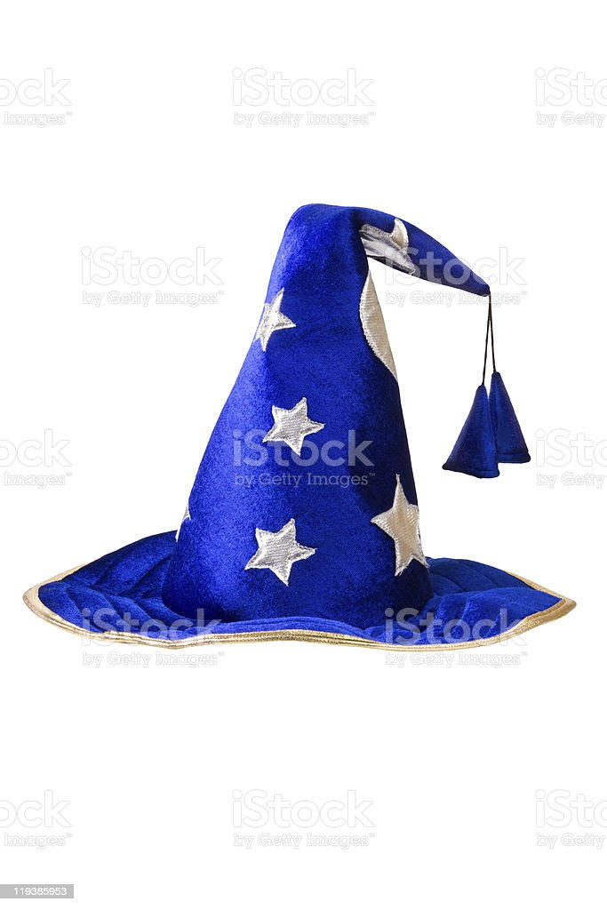 blue wizards hat with silver stars, cap stock photo